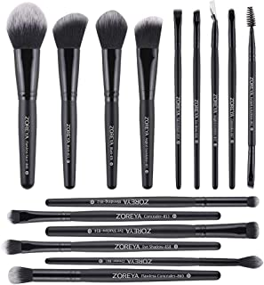 Zoreya Makeup Brushes 15 Pcs Premium Makeup Brush Set Synthetic Kabuki Brush Cosmetics Foundation Concealers Powder Blush Blending Face Eye Shadows Black Brush Sets