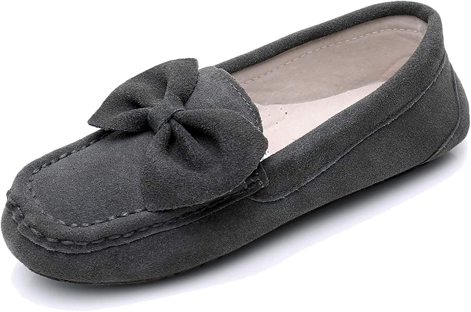 Moccasin Slippers for Women Loafers Casual Flat Suede shoes Womens Moccasin Slippers Comfortable Breathable Driving Slippers Brown