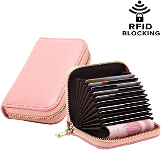 Sookiay RFID Blocking Leather Wallet Men Women Credit Card Case Holder