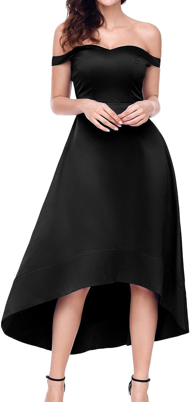 AlvaQ Women Off Shoulder High Low Hem Swing Midi Dress