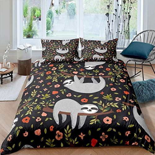Sloth Bedding Set for Kids Boys Girls Teens Branches Leaves Floral Print Cute Animal Wildlife Comforter Cover Skin-Friendly Microfiber Bedclothes Decor 3Pcs Duvet Cover With 2 Pillowcase King
