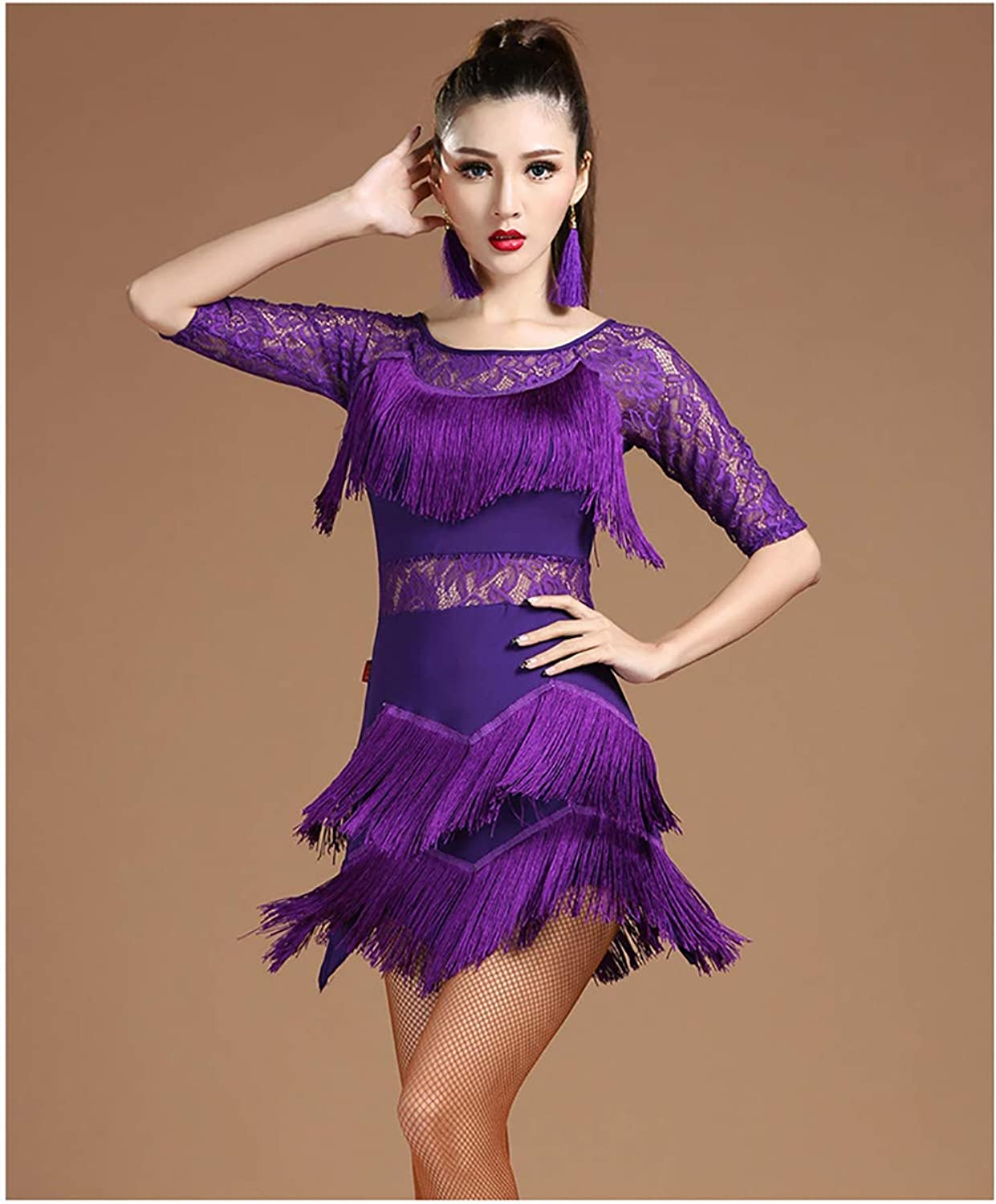 Women's Rhinestone Tassel Flapper Latin Rumba Dance Dress 2 Pieces Outfits with Shorts