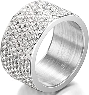 Jude Jewelers 12mm Stainless Steel Full Stones Filled Wedding Band Eternity Ring