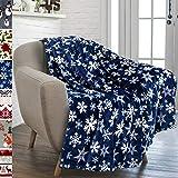 PAVILIA Christmas Throw Blanket | Navy Snowflake Christmas Fleece Blanket | Soft, Plush, Warm Winter Cabin Throw, 50x60 (Navy/White Snowflake)