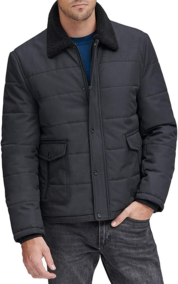 Marc New York by Andrew Marc mens Howell Color Block Puffer With Faux Sherpa Collar