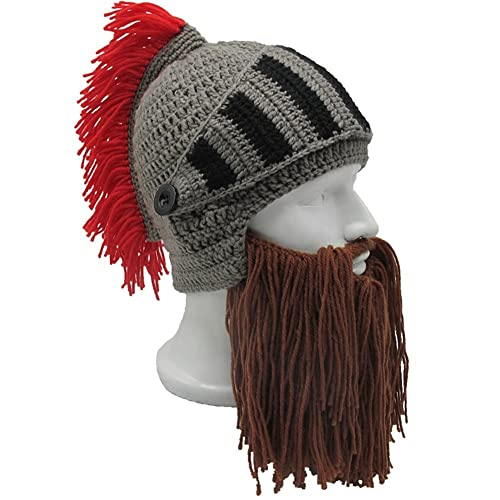 Flyou Wig Beard Hats Handmade Knit Warm Winter Caps Ski Funny Mask Beanie  for Men Women 7a0c09d404f