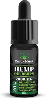 Hemp Oil Drops High Strength 2000mg - 20% | Great for Severe Pain Anxiety Stress Relief Sleep Support | Organic Full Spectrum Co2 Extract | Best from The Netherlands