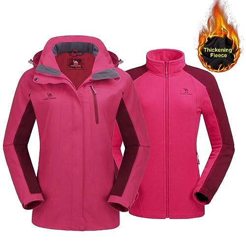 CAMEL CROWN Women s Ski Jacket Winter Jacket Waterproof 3 in 1 Mountain Coat  Windproof Hooded with a9b4fe0f4