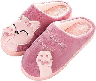 Aniywn Women and Men Winter Home Indoor Warm Fleece Slippers Cat Non-Slip Warm Indoors Bedroom Floor Shoes
