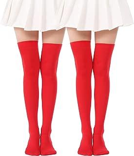 red thigh high socks