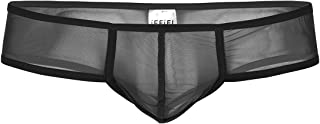 Mens Soft Sheer Mesh Bulge Pouch Low Rise Briefs Thong G-String Underwear