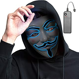 Halloween Scary Mask Cosplay Led Costume Mask EL Wire Light up Purge Mask Halloween Festival Party