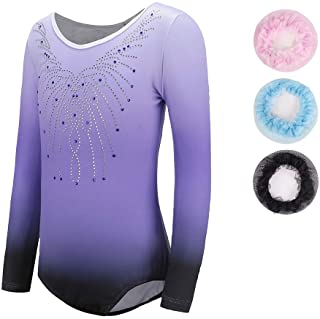 Sinoeem Super high Gymnastics Leotards for Girls Long Sleeve-Sleeveless Gradient Color Sparkle Leotard Dancing Ballet Gymnastics Athletic for Little Girl 5-14 Years
