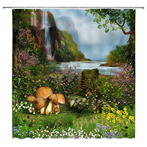 JUGTFYH Cortina de la duchaTende da doccia di paesaggi naturali Cascata Fiore di Prato Verde Primavera Paesaggio Arredo bagno Set di tende di stoffa impermeabile a BUON Mercato