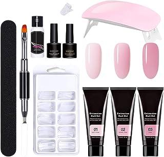 Desire Sky Pieza de uñas extendida+lámpara de uñas UV+lima de uñas+cepillo de doble cabeza,set de geles falsos para principiantes
