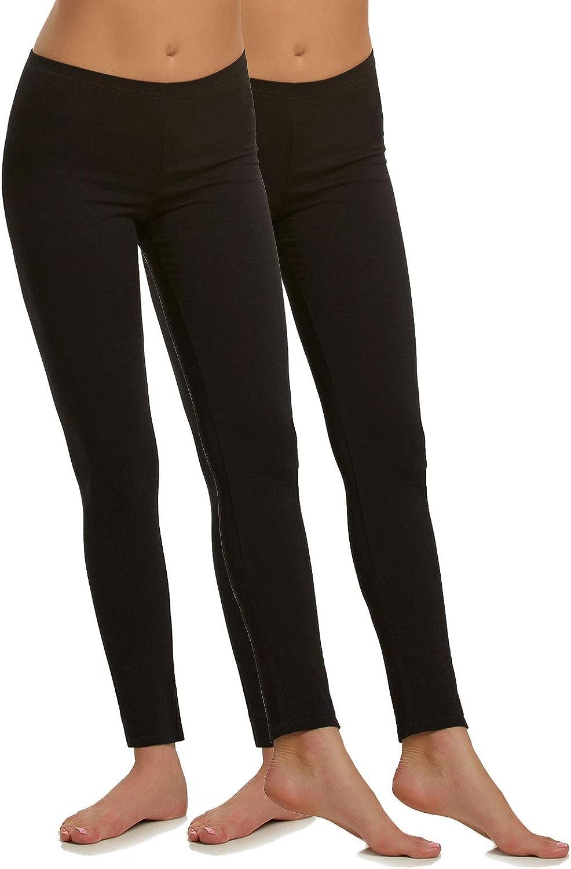 Felina   Cotton Modal Leggings   Lightweight   Breathable   2-Pack (Black, Small)