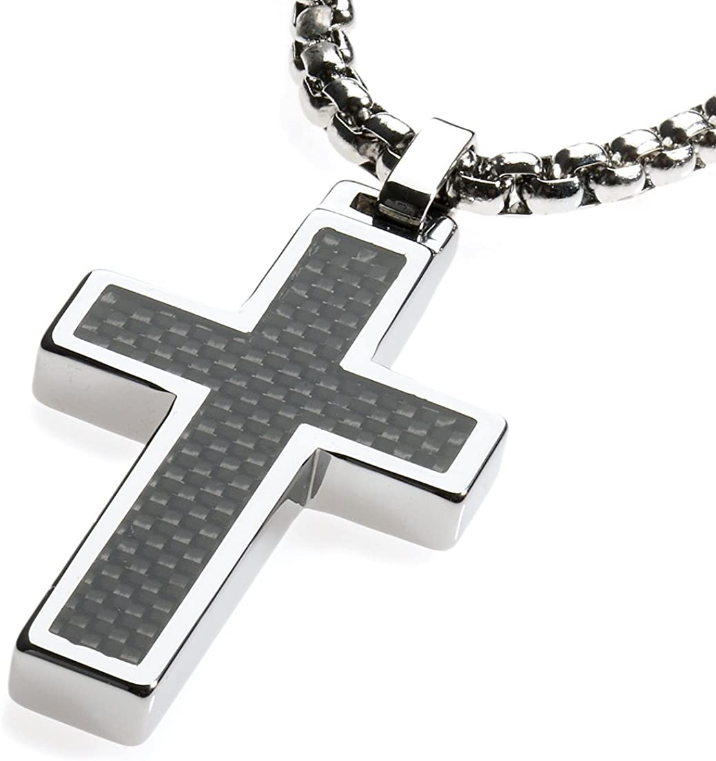 Unique GESTALT Tungsten Cross Pendant .4mm Surgical Stainless Steel Box Chain. Black Carbon Fiber Inlay.