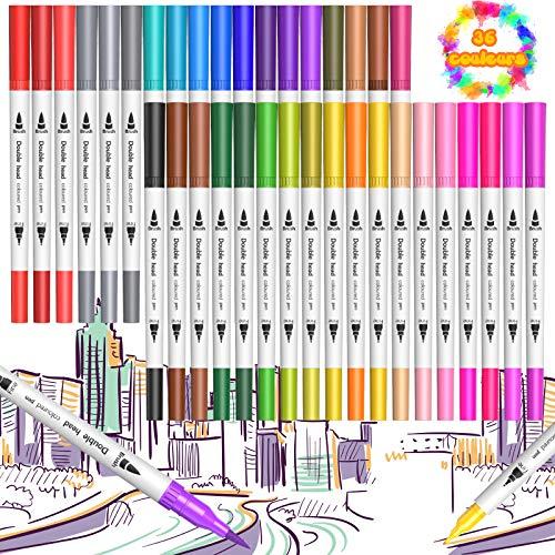 U UZOPI Feutre Coloriage, 36 Couleurs Feutres Coloriage Stylo Feutre Double Pointe Feutre Pointe Fine 0.4mm/Feutre Pinceau 1-2mm pour Coloriage Adulte Dessin Enfant Peinture Bullet Journal Cadeau