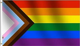 Inclusive Progress Pride Rainbow Flag 3ft x 5ft Polyester Flag, Durable Chevrons Progressive Pride Flag Made with Vibrant ...