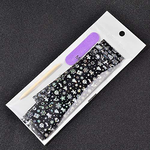 8HAOWENJU Laser Christmas Nail Art Sticker Besoin d'étoile Colle étoile Flocon de Neige de Noël Motif Pleine Wraps Nail Art manucure Foils de Transfert Nail Art (Couleur : 4pcs)