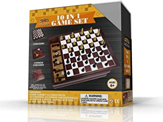 Real Wood Games 10-in-1 Wooden Game Set