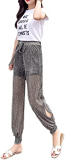 Radish Stars Women's Glitter Sequins Harem Pants Casual See Through Split Joggers Sports Sweatpants