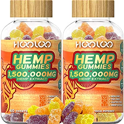 2 Pack Hemp Gummies, HOOLOO 1,500,000MG Vegan F...