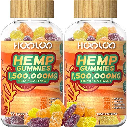 2 Pack Hemp Gummies, HOOLOO 1,500,000MG Vegan Natural Hemp Gummy Bears for Relaxing, Sleep Better, Reduce Stress Anxiety, Fruity Hemp Extract Gummies, Made in USA