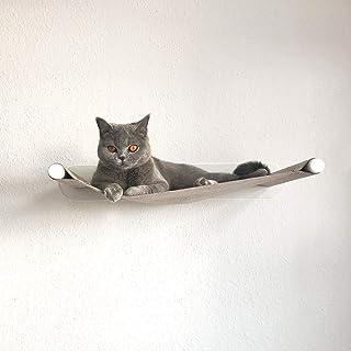 LucyBalu - Amaca per gatti I Swing I Lettino da parete 65 x 10 x 35 cm I In metallo verniciato a polvere e feltro di lana ...
