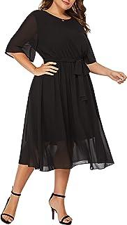 Romwe Women's Plus Size Chiffon Elegant Flared Short Sleeve Belted Cocktail Party Swing Midi Dress