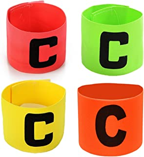 Football Soccer Captain Armband Velcro and Anti-drop Design for Adult and Youth,Pack of 4 Colour for Multiple Sports