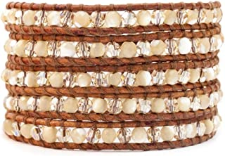 Chan Luu Mother of Pearl and Crystal Bead Wrap Bracelet on Brown Leather
