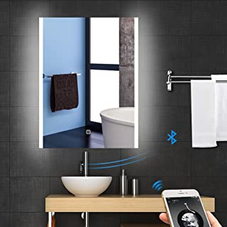 Backlit LED Wall Mounted Lighted MakeupVanity Bathroom Bluetooth Slivered Mirror with Touch Button