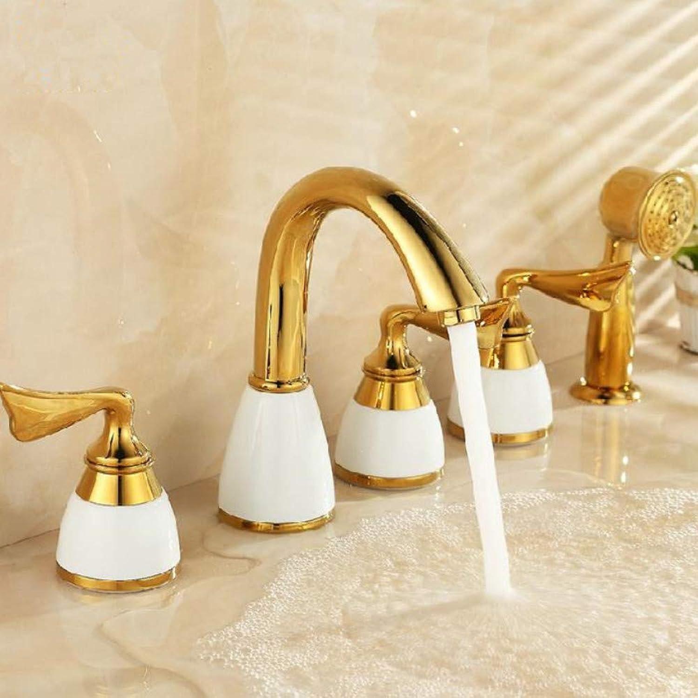 Ayhuir Badewanne Wasserhahn Messing Wei Keramik Gold Luxus 5 Loch Bad Wasserhahn Set Regendusche Hand Becken Heier Kaltmischbatterie