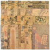 40 Hojas Papel Kraft Scrapbooking Vintage Decoración Material para Scrapbooking Papel Estampado Decorativo Estilo Retro para Diario Bullet Journal Álbum de Recortes Fotos Manualidades