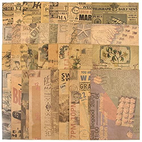 40 Hojas Papel Kraft Scrapbooking Vintage Decoración Material para Scrapbooking Papel Estampado Decorativo Estilo Retro para Diario Bullet Journal Álbum de Recortes Fotos Manualidades ⭐