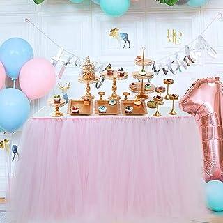 تنورة طاولة مصنوعة يدويًا من Tutu Tulle مناسبة لطاولة حفلات الأميرة وحفلات الزفاف وأدوات المائدة من الدانتيل للحفلات والوج...