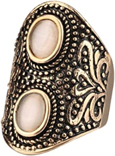 Retro punk natural cat's eye stone men rings, old gold plated exaggerated carved men's nightclub ring.9US