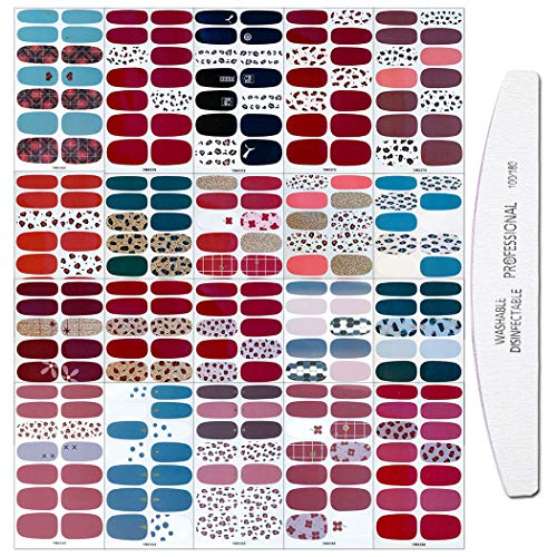 WOKOTO 20 Sheets Adhesive Nail Art Polish Stickers Tips with 1Pc Nail File Leopard Print Nail Wraps Decals Strips Set Manicure Accessories