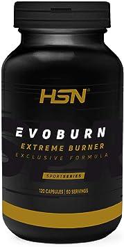 Evoburn HSN | Suplemento con Estimulantes para Mujeres y Hombres | Cafeína, Té Verde, Guaraná, Forskohlii | Alta Eficacia | Vegano, No-GMO, Sin ...