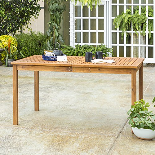 Walker Edison Dominica Contemporary Slatted Outdoor Dining Table, 34 Inch, Brown
