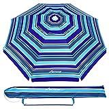 MOVTOTOP Ombrellone da Spiaggia, 200 cm, con Ancoraggio a Sabbia, Portatile, Protezione Solare UV 50+, Ideale per la Spiaggia all'aperto
