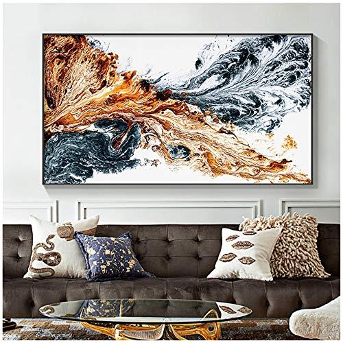 Bzdmly canvas schilderij poster afdrukken muurkunst afbeelding abstracte kleur inkt spuit voor woonkamer huis decoratie 60x80 cm/23.6