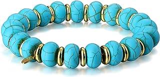 PLTGOOD Handmade Crystal Beaded Bracelet for Women - Healing Natural Stone Gemstone Rose Quartz/Turquoise/Amazonite/Topaz ...