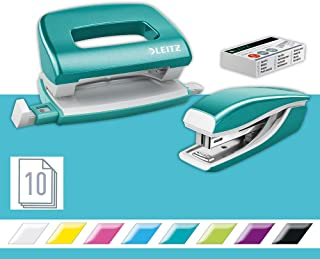 Leitz 55612051 Mini Stapler and Hole Punch Set, Staple or Punch Up to 10 Sheets, Includes P2 N°10 Staples, Wow Range, Ice ...