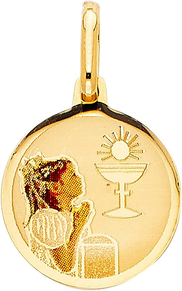 FB Jewels 14K Yellow Gold First Communion Picture Medal Girl Pendant 17mm X 15mm