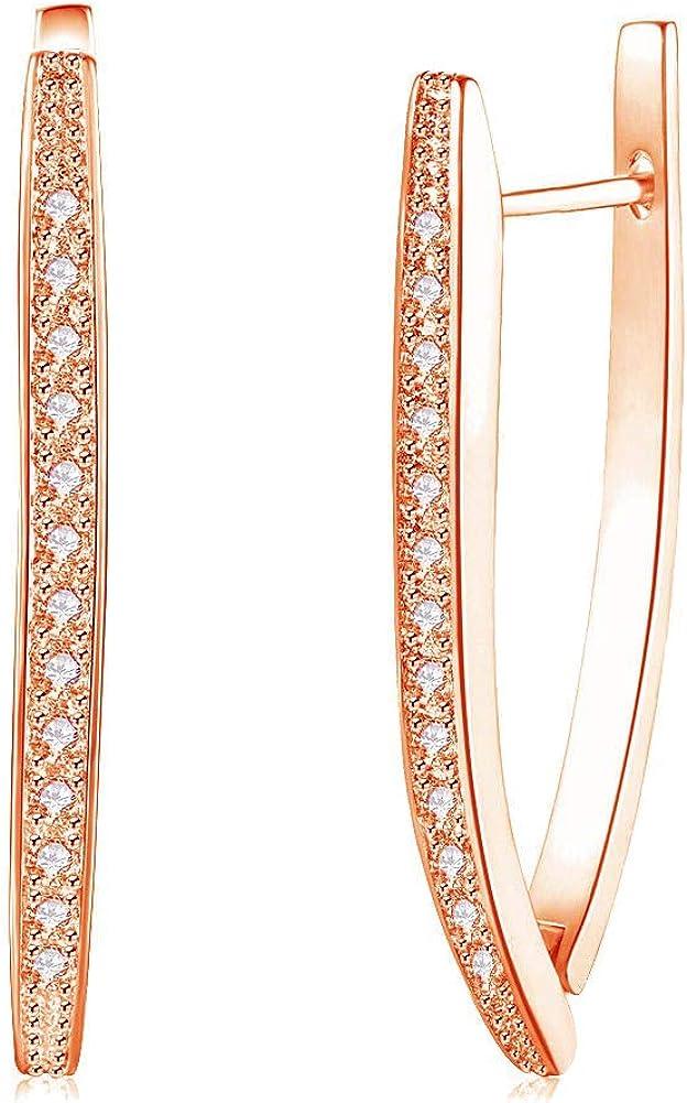 Elegant CZ Pendant Stud Earring Set for Women, Girl Romantic V Shape Pendant Earring Dangle Jewelry