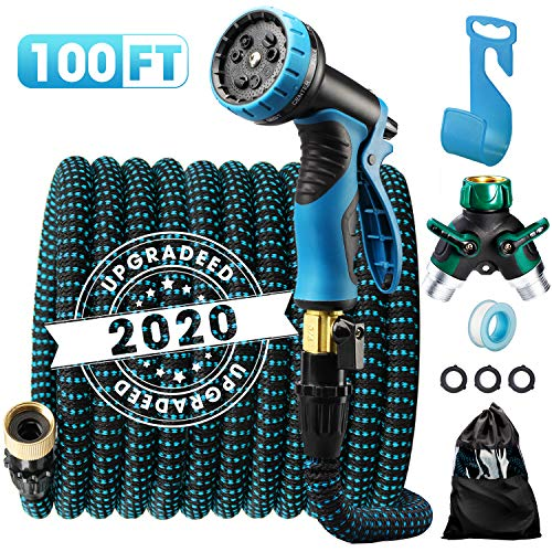 """Delxo 2020 Upgrade100FT Expandable Garden Hose Water Hose with 9-Function High-Pressure Spray Nozzle, Heavy Duty Flexible Hose, 3/4"""" Solid Brass Fittings Leakproof Design"""