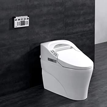 Ove Decors 735H Smart Bidet Toilet Elongated One Piece Modern Desing, Automatic Flushing, Heated Seat with Integrated Multi Function Remote Control, White, 31.3 x 16.8 x 23.8 inches