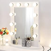 White Hollywood Makeup Vanity Mirror with 12 Dimmable Light Bulbs, Natural Daylight Lighting Wall Mirror with Detachable Base, LED Lighted Cosmetic Mirror for Bedroom Dressing Room (25.6'' x 19.7'')
